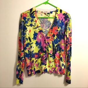 Ann Taylor LOFT Bright Floral Cardigan